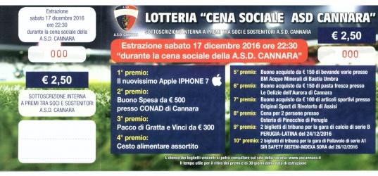 """""""Lotteria Cena Sociale ASD Cannara"""" – I numeri vincenti"""